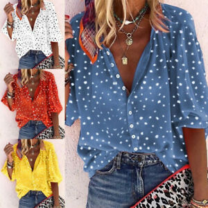 Women Short Sleeve V Neck T Shirt Floral Print Button Blouse Casual Loose Tops