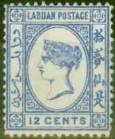 Labuan 1892 12c Brt Blue SG45a No Right Foot to 2nd Chinese Character Fine Mo...