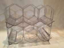 Vintage Lucite Honeycomb Clear Acrylic Mid Modernist Wine Bottle Rack Holder