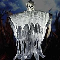 90CM Hooded Skeleton Halloween Hanging Horror Skull Ghoul Decoration Prop Shop