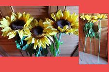 3 branches de grosses fleurs de tournesol artificielles plastique tissu feuille