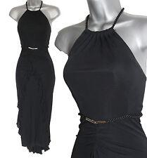 KAREN MILLEN Black Jersey Halterneck Rope Belt Frill Front Fishtail Dress UK 10