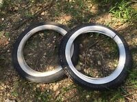 NEW Vintage Bando Tire 3.00 18 White Wall Tire Set Tires Ribbed Front + Rear