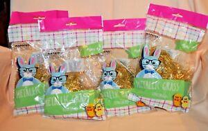 4 bags of Gold Metallic Tinsel Hair Easter Gift Basket Stuffer Party Supplies