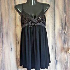 Forever 21 Little Black Dress Sequin Satin Bow Baby Doll Empire adj strap blouse