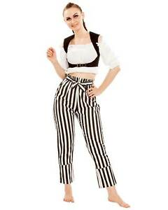 Women Abigail Self-Tie Frill-Waist Striped Pants,High quality hand crafted, COOL