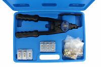 ABN Hand Riveter Tool Kit Set – Rivet Setter Gun & SAE Metric Riveting Nuts
