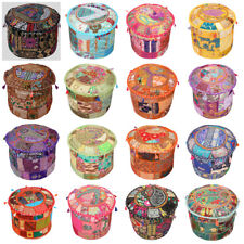 Indian Patchwork Cotton Ottoman Pouffe Cover Handmade Footstools Decor Pouf 16""