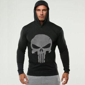 The Punisher Men Gym Thin Hoodies Long Sleeve Hoodie Sweatshirt Casual T-Shirt