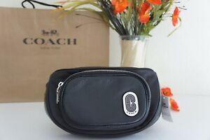 NWT Coach 91066 Belt Bag Fanny Waist Court Black Leather & Nylon Black $250