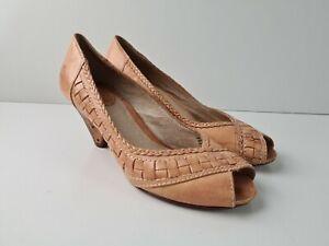 FRYE MAYA WOVEN PEEP Toe Stacked Cone Mid Heel Womens Size US5.5 M Peach Leather