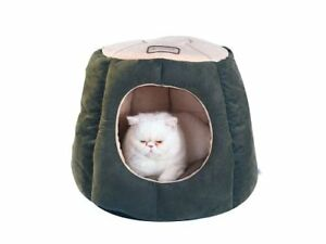 Pet Cat Bed Plush Soft Puppy House Waterproof Covered Velvet Fabric Green/Beige