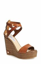 JIMMY CHOO Noelle Platform Wedge Nude Camel Tan Sandals SZ 40.5 NEW