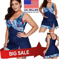 2pc Plus Size Tankini Full Coverage Blue Floral Skirtini Swimsuit Bikini M-3XL