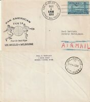 US 1958 TWA FAM 14 FIRST FLIGHT FLOWN COVER LOS ANGELES TO MELBOURNE AUSTRALIA