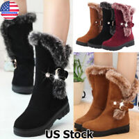 WOMENS LADIES WINTER WARM FUR LINED BUCKLES MID CALF LOW HEEL BOOTS SHOES SIZE
