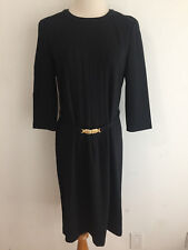 Talbots Petites Belted Sheath Dress Black w/Gold Metal Buckle Size 8P NWOT!