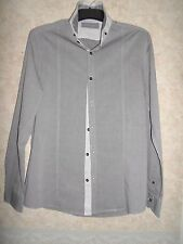"""RIVER ISLAND LIGHT GREY COTTON SEMI FITTED SHIRT SIZE M (CHEST 36-38"""")"""