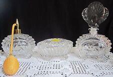 Crystal Perfume & Vanity Set - 4 pc. - Pinwheel - West Germany - New Old Stock