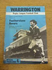03/04/1974 programma Rugby League: Warrington V Featherstone Rovers (piegato, CR