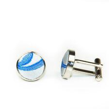 Men's Wedding Groom Work Silver Blue Scroll Inlay Satin Cufflinks