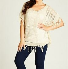 Beautiful Knitted FRINGED PONCHO- Beige in colour- SIZE 12-14 (FREE POST)
