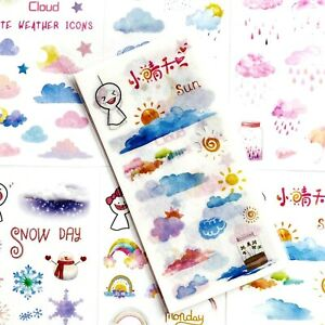 CLOUD & RAINBOW STICKERS Weather Scrapbooking Journal Card Craft Decoration