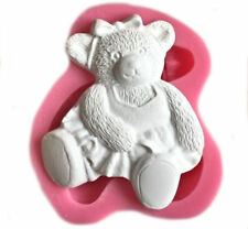 Cute Sitting Bear with Bow Silicone Mold - Fondant, Gum Paste, Chocolate, Crafts