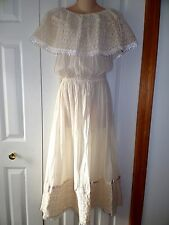 Womens NOS NEW VTG  70s/80s Muslin Beige Peasant Boho Prarie Lace Dress M L XL