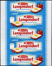 Vintage bread wrapper LANGENDORF dated 1954 California and Oregon new old stock