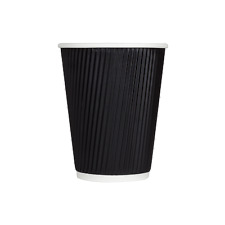 12oz Disposable Insulated Ripple Paper Cups Hot Coffee Kraft/Black Sipper Lids