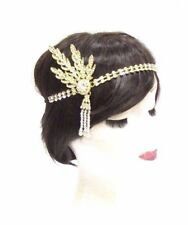 Gold White 1920s Flapper Headpiece Vintage Great Gatsby Daisy Headband 30s 2855