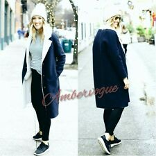 ZARA NAVY BLUE WOOL LONG COAT FLEECE LINING SIZE M UK 10
