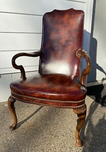 Vintage Hickory Chair Co. Leather Gooseneck Office Guest Queen Anne Armchair VGC