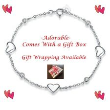 Women 925 Sterling Silver Heart Charm Bracelet Sweetheart Gift Wrap Box Ladies
