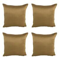 "Pack of 4 - Ochre Nylon Matte Gold Cushion Covers Shop 17x17"" Inch / 43x43cm"