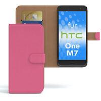 Tasche für HTC One M7 Case Wallet Schutz Hülle Cover Pink