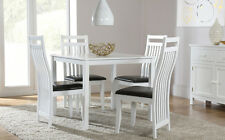 Milton Square & Java White Dining Table and 4 Chairs Set