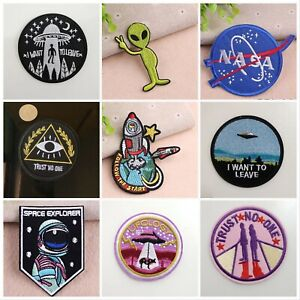 ASTRONAUT Embroidery Patches Sew Iron On Patch Badge Applique ALIEN SPACE NASA