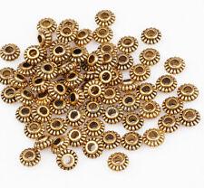 100 Stück Tibetan Silber Metallperlen Spacer Beads zum Basteln Schmuck 6mm