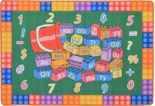 Kids Area Rug 5x7 Carpet baby mat Abc play mat Learning numbers Non-Skid