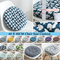 Print Flax Chair Cushion Round Cotton Soft Padded Cushion Pad Home Office Patio