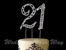 21st Birthday Rhinestone Crystal Cake Topper Number 7cm Silver Diamante Bling