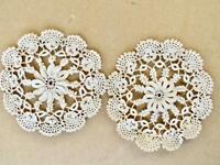 """Set 2 Antique Irish Crochet Cotton Lace 4"""" Round Doilies Shamrock Ptn Casters"""
