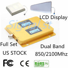 US STOCK 70dB 850/2100MHz Dual Band Mobile Signal Booster Repeater Amplifier