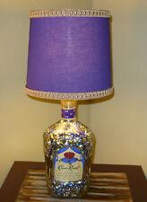 CROWN ROYAL WHISKEY UPCYCLED LIQUOR BOTTLE LAMP W/LAMPSHADE 1.75 LARGE SIZE