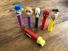 Vintage 1992 Pez Dispensers LOT of 6 Spider-Man Flintstone Ms. Piggy Skull