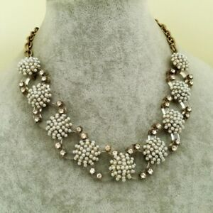 NWOT NEW J. Crew Vintage Gold Pearl Pave & Lucite Statement Necklace