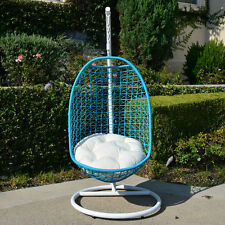 Wicker Rattan Swing Chair Egg Shape Hanging Hammock White Turquoise Khaki