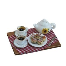 Tea and Scone set Dollhouse Miniature Fairy Faerie Gnome Hobbit  Garden  16701